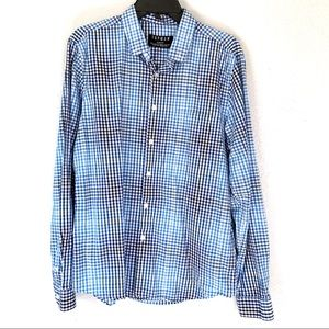 Topman blue checkered buttoned long sleeve shirt